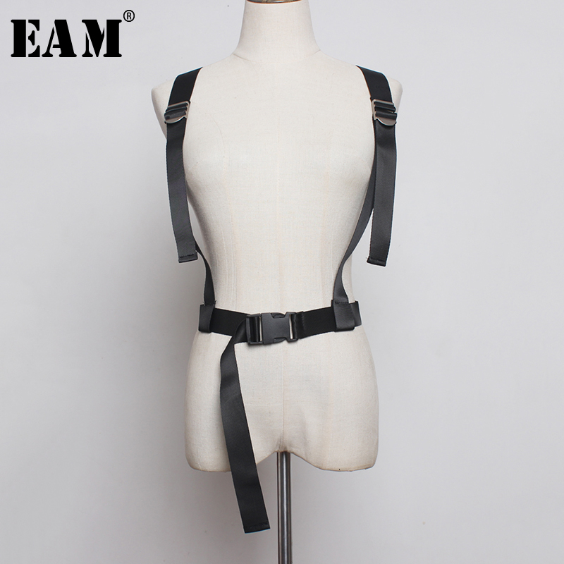[EAM]  Buckle Split Joint Adjustable Black Strap Belt Personality Women New Fashion Tide All-match Spring Autumn 2020 1D227