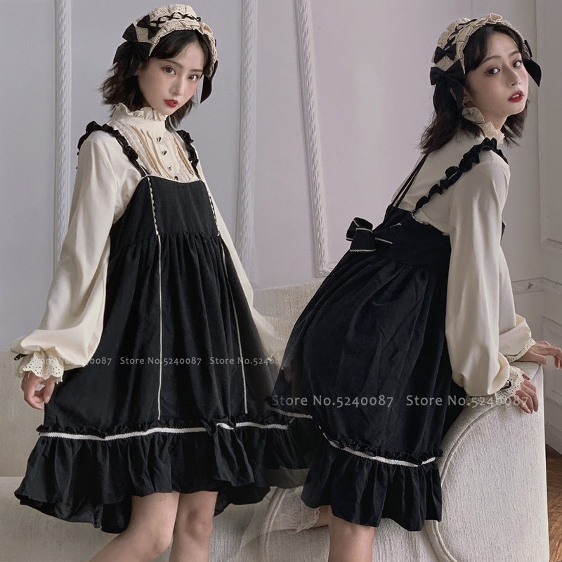 Japanese Style Sweet Bow Lolita Jsk Girls Princess Doll Dress Medieval Retro Maid Cosplay Halloween Carnival Women Party Costume