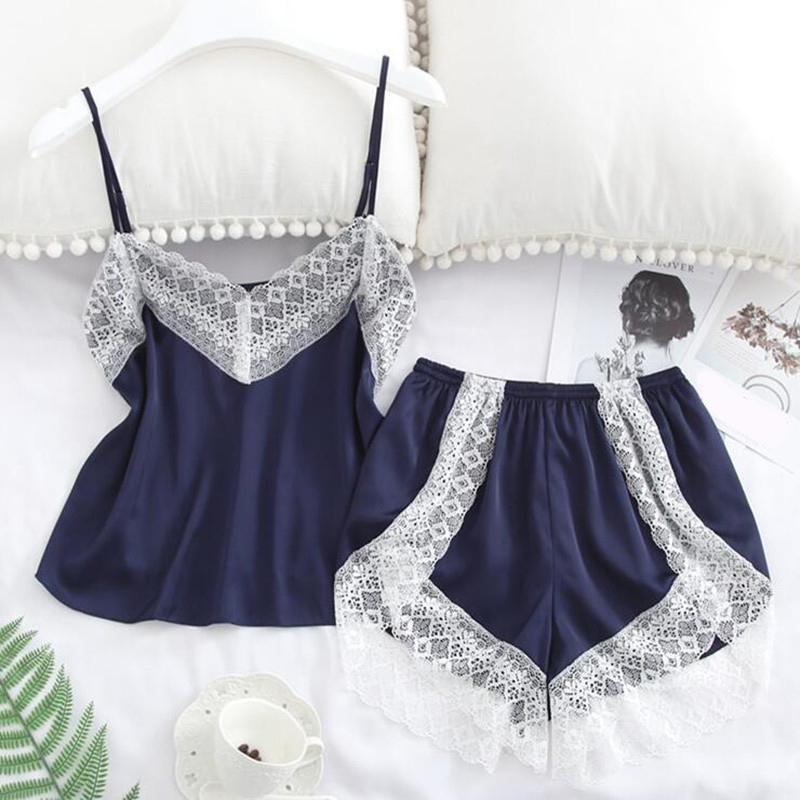 2 Piece Set Women's Silk Pajama Sets Lace Patchwork Camis Tops+Shorts Female Sleepwear 2020 Summer Sexy Lady Pajamas Suit