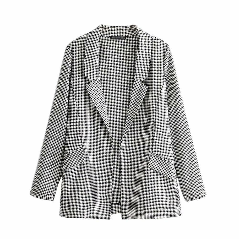 Vintage women tweed plaid   basic     jacket   2019 fashion elegant ladies long sleeve pockets suit coats female feminine chic outwear