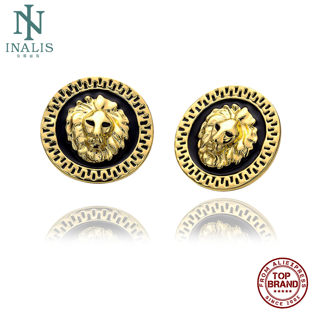 INALIS Round Lion Gold Plated Stud Earrings For Women Casual Vintage Female Earring Anniversary Fashion Jewelry New Arrival