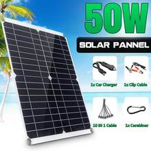 Complete-Charger Solar-Panel-Kit Usb-Power-Bank Boat 50W 18V with 10-In-1 Charging-Line