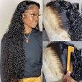 32 дюйма 13x6 прозрачный волнистый кружевной передний парик плотность 180 предварительно выщипанный HD кружевной передний парик из человечески...