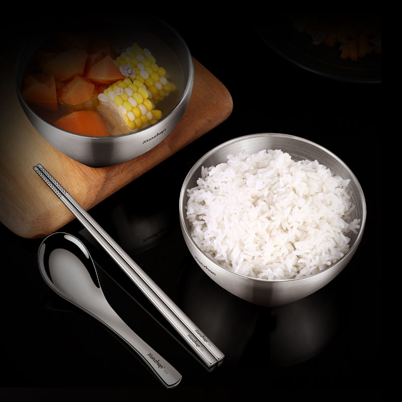 Stainless Steel Bowl Household Soup Bowl Rice Bowl Chopsticks Cutlery Set Anti-scalding and Anti-fall Student Bowl