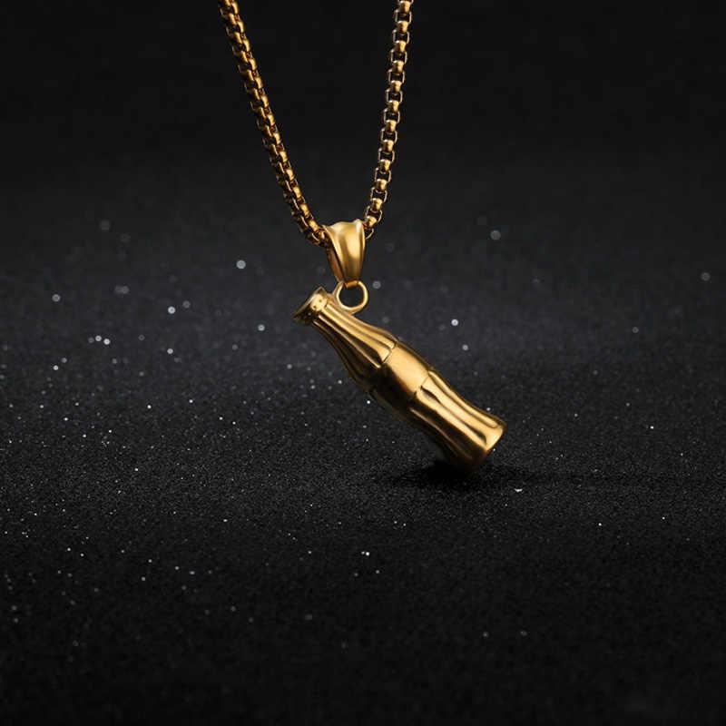 קסם קולה שרשרת לגברים תכשיטי נירוסטה ארוך שרשרת מיני בקבוק תליון Necklack עבור חבר מתנה פאנק זהב קולר BFF