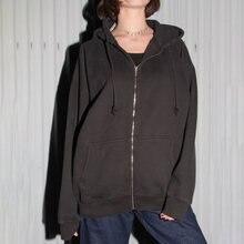 Модная черная толстовка Женская куртка на осень и зиму однотонные