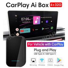 Boîtier de lecteur multimédia Android universel, Plug and Play, Auto TV Box, CarPlay AI Box, 4 go + 32 go, pour Apple CarPlay