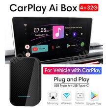 Para Apple CarPlay caja AI de 4GB + 32GB Universal coche Android caja de jugadores Multimedia Inalámbrico enlace espejo macho y Auto caja de TV
