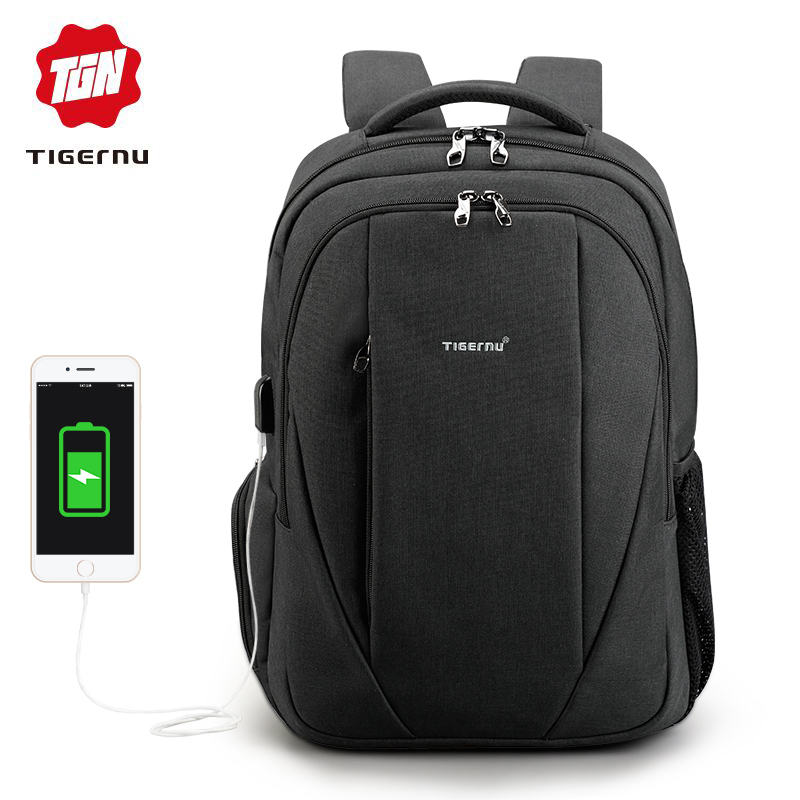 Tigernu brand male mochila 15.6 inch laptop backpack men usb slim backpacks for girls waterproof backpack schoolbag College-in Backpacks from Luggage & Bags    1
