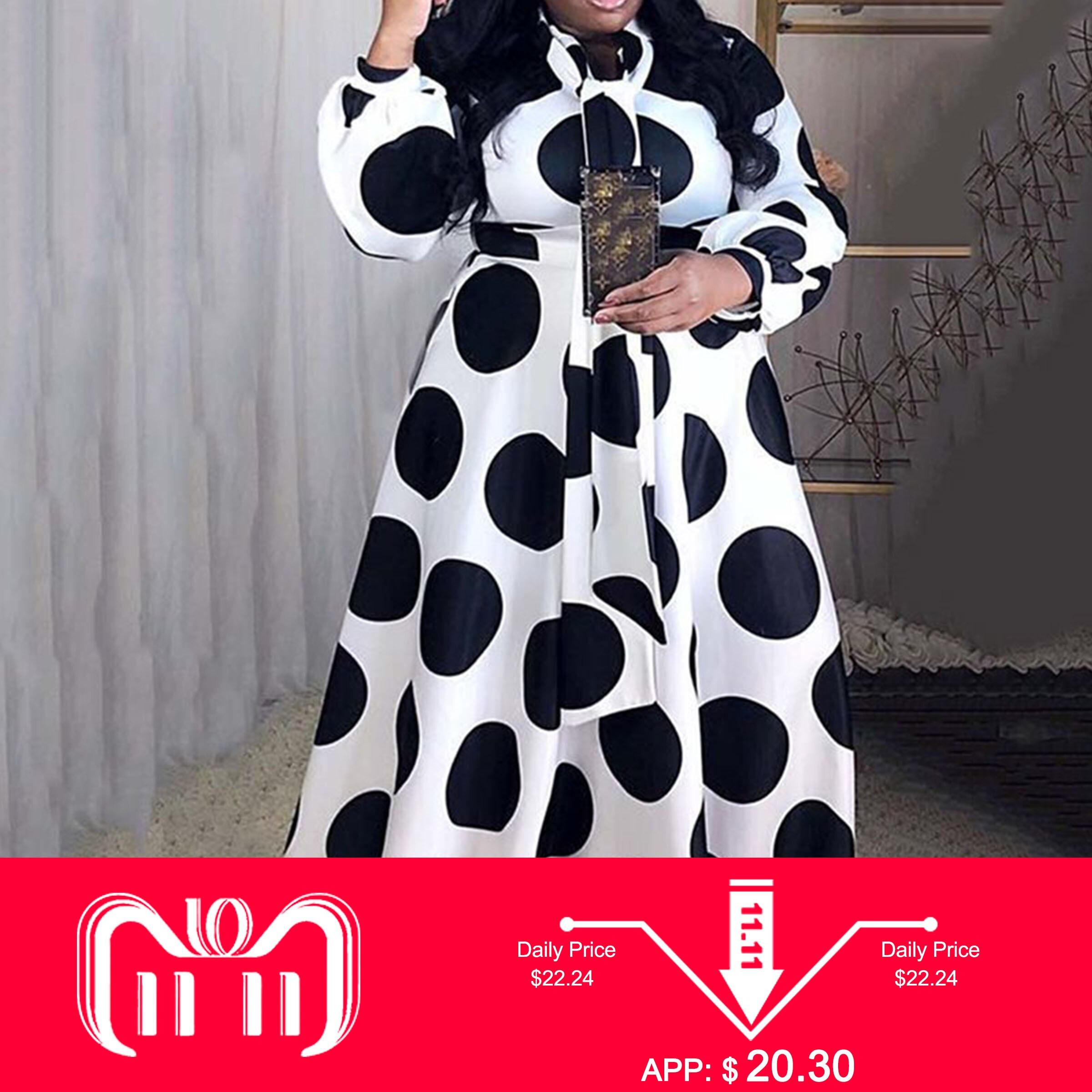 Plus Size 5XL Oversized Loose Contrast Color Dot Printed Floor-Length Maxi Dress High Waist Lantern Sleeve Elegant Retro African