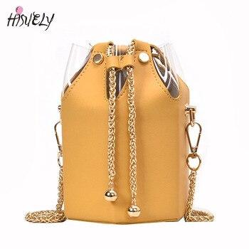 Korean Women bag Hot Sale Bucket Bag Women PU Leather Shoulder Bags Chain Designer Ladies Crossbody messenger Bags Purse BG385