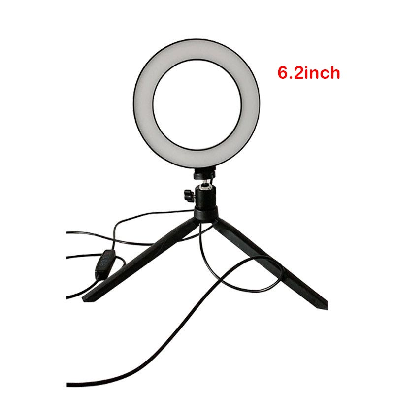 6 2inch phone Photography LED Selfie Ring Fill Light Dimmable Camera Ring Lamp Table Tripod For Makeup YouTube Video Live Studio
