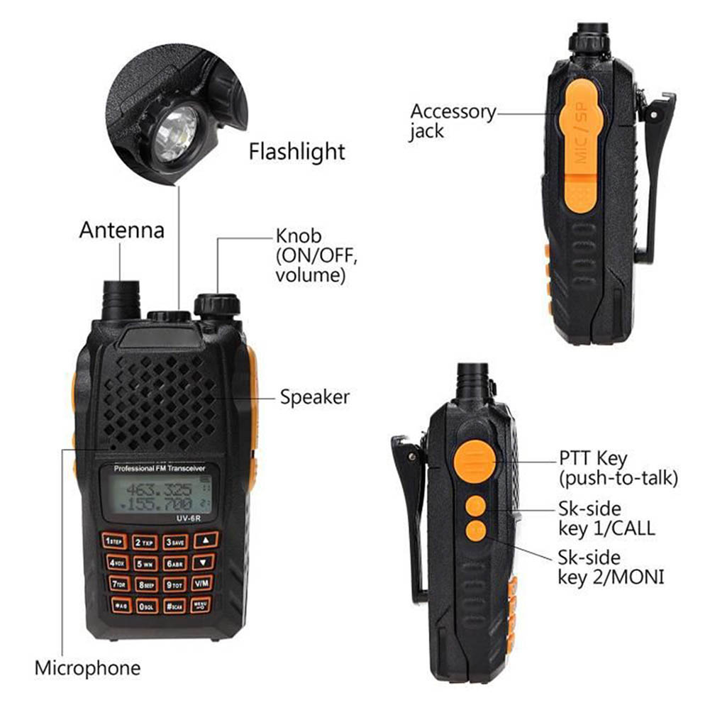 FOR CAR 2Pcs UV-6R 5W/1W 65-108MHz Walkie Talkie Two Way  Radio Transceiver FOR BMWE39E469E0E60carAccessories