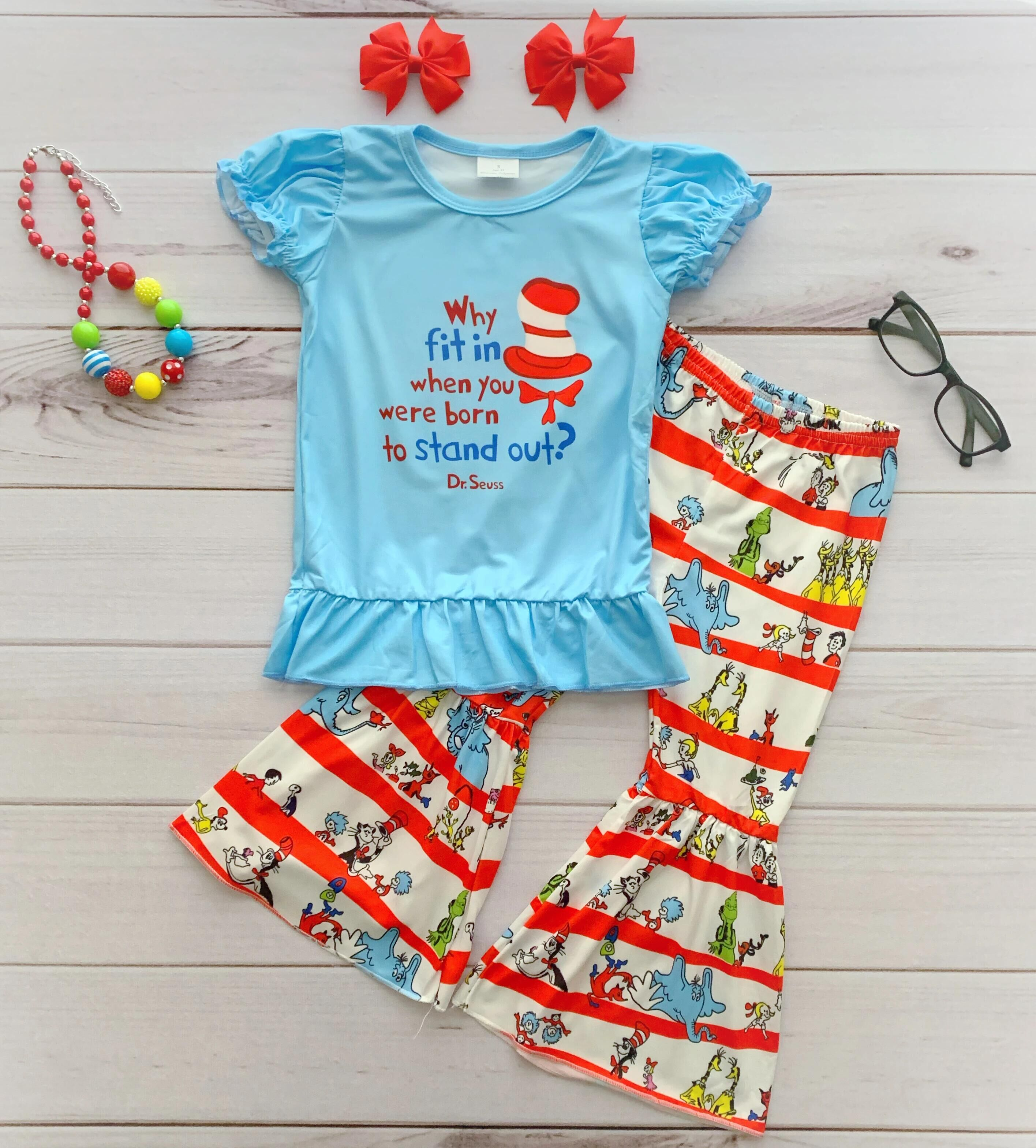 NEW Dr Seuss Cat in the Hat Shirt /& Bell Pants Girls Boutique Outfit Set