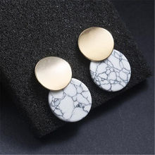 New Unique Trendy Double Round Drop Earrings Natual Stones Metal Statement for Women Fashion Jewelry Party Gift WD702