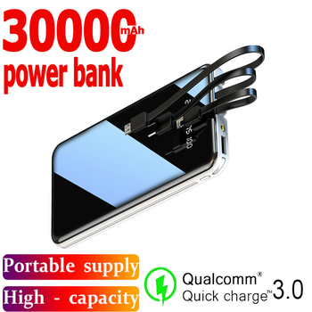 Mobile Power Bank 30000mAh Full Screen 3USB Portable Outdoor Emergency Fast Charging External Battery for Samsung Xiaomi Iphone