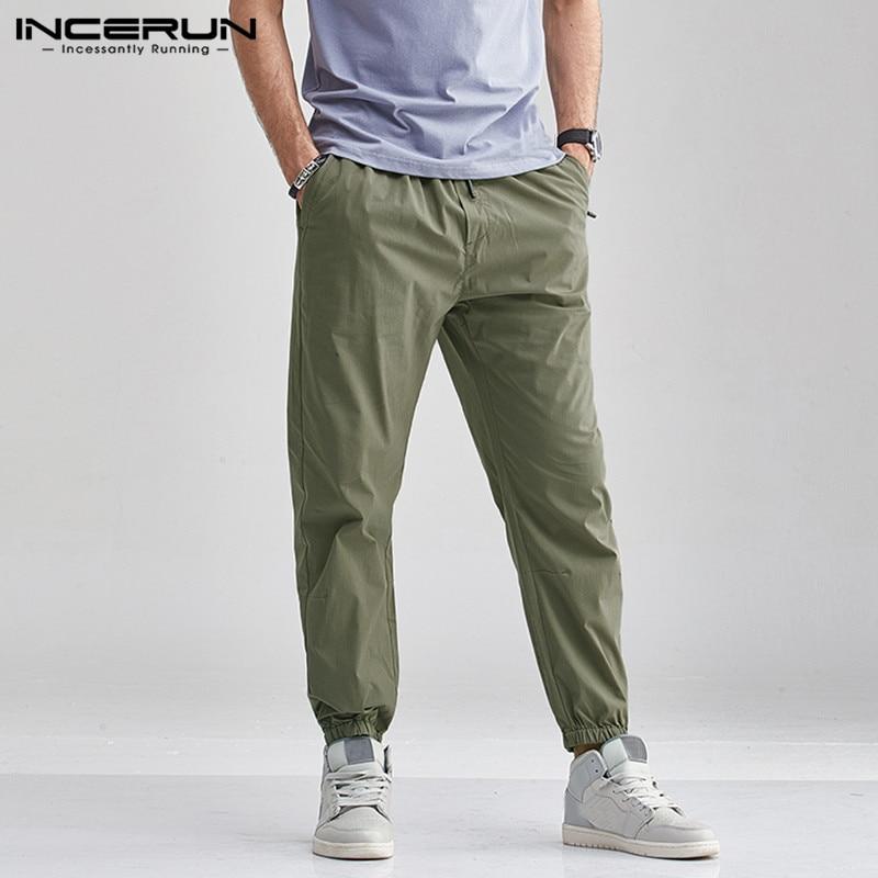 INCERUN Solid Color Casual Pants Men Elastic Waist Joggers Long Trousers Baggy Streetwear Fashion Men Cargo Pants Harajuku 5XL