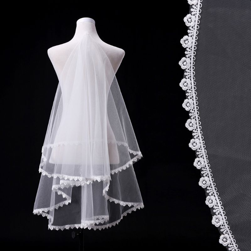 Free Shipping Women Girls Long Wedding Veil Floral Lace Patchwork Trim Tulle Mesh Bridal Decor