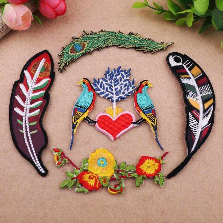 Zotoone Cartoon Vogel Patches Veer Blad Geborduurde Ijzer Op Patches Voor Kleding Applique Diy Kids T-shirt Jeans Zakken Decor