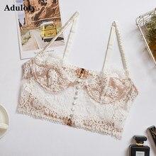 Aduloty-Lencería de malla sexy recortado de encaje con bordado de flores, sujetador cómodo de realce de pestañas, ropa interior de una sola pieza