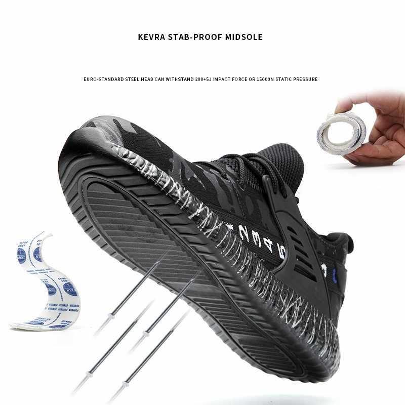 Mannen Stalen Neus Beschermende Werk Enkellaarsjes Camouflage Ademende Outdoor Footwear Anti-smash Punctie Proof Veiligheid Schoenen Voor Mannen