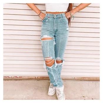 Женские джинсы с высокой талией, рваные джинсы с дырками для похудения, сексуальные осенние джинсы, новая одежда, повседневные женские потертые брюки-карго
