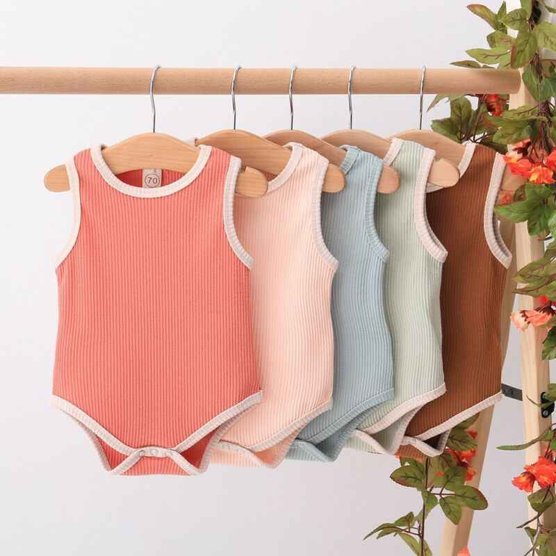 2020 Soft Cotton Baby Boydsuit 0-24M Sleeveless Summer Solid Playsuit Toddler Infant Baby Girl Clothes Jumpsuit One Piece Outfit