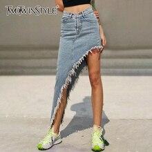 Женская Асимметричная юбка TWOTWINSTYLE, повседневная Асимметричная юбка с высокой талией и кисточками, 2020