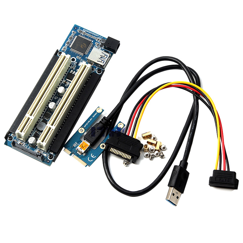 Mini PCI-E Express X1 To Dual PCI Riser Extend Adapter Card With USB3.0 Cable For WIN2000/XP/Vista/Win7/Win8/LINUX Add Card