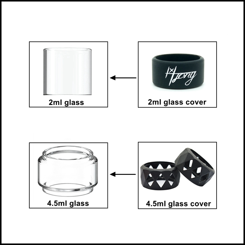 Hongxingjia Replacement Glass Tube For Zeus X / Zeus Dual / Zeus Sub Ohm / Zeus / Zeus X Mesh Glass Tank 4