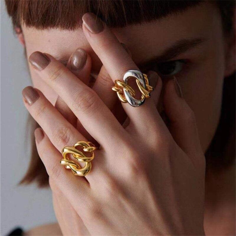 Женское асимметричное кольцо HUANZHI, ретро контрастное комбинированное кольцо с металлической цепочкой, вечерние ювелирные изделия на осень ...