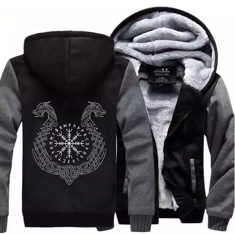 Odin vikings jaqueta masculina casaco casacos streetwear jaquetas dos eua tamanho europeu grande S-5XL hoodies com zíper moletom