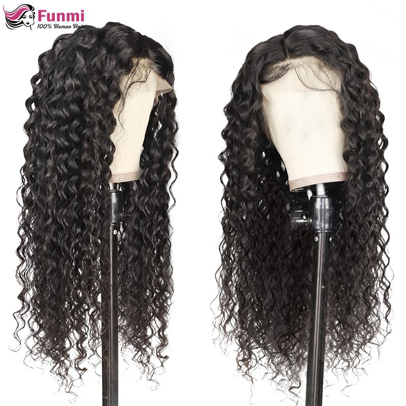 Brazilian Water Wave Wig 13*4 Lace Front Human Hair Wigs Pre Plucked Natural Hairline 150% High Radio Remy Hair Wigs Funmi Hair