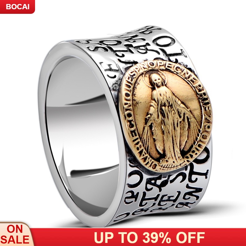The little black silver wholesale 925 sterling silver jewelry gold Notre Dame male xh053696w ring