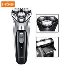 Enchen men barbeador elétrico 3 lâminas de barba navalha usb recarregável aparador cabelo costeletas máquina cortador