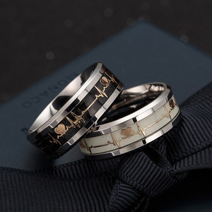 Titanium Steel ECG Lovely Luminous Couple's Carbon Fiber Ring European and American New Hot Selling Ring Wholesale
