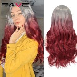 FAVE longues perruques ondulées Ombre gris à pastèque rouge noir gris violet bleu marron cheveux synthétiques pour noir blanc femmes Cosplay Party