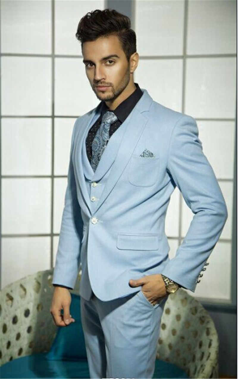 Formal Sky Blue India Style Wedding Tuxedos Groom Groomsmen Three Piece Mens Formal Prom Party Suits Dress Jacket Pants Vest Tailor Made Suits Aliexpress