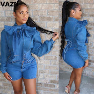 VAZN MOF5114 new arrival 2019 autumn soild jean blue lady set full sleeve set young girl casual new set
