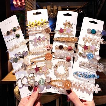Conjunto de 2/8/10 unidades de pinzas para el pelo con perlas geométricas, horquillas de cristal, adorno para el pelo, pasador, diadema, accesorios para el cabello