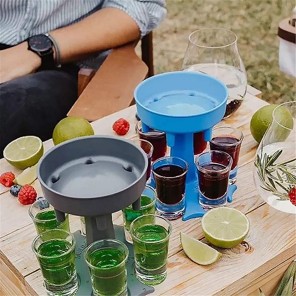 Beer-Wine-Glass-Dispenser-Portable-Plastic-6-Shot-Holder-Drinking-Games-Shot-Glasses-Get-Festival-Party