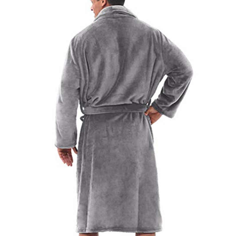 Mens Caldo di Inverno Della Peluche Allungato Scialle Accappatoio Casa Doccia Vestiti Abito Lungo Cappotto-Opk