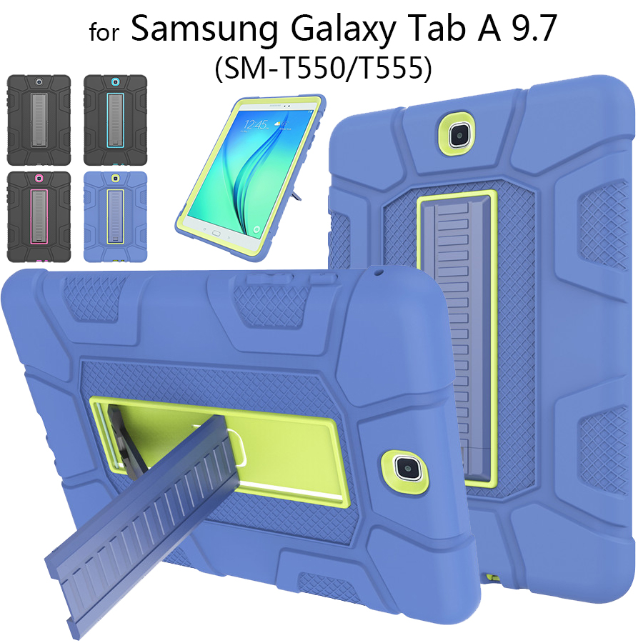 Tablet Abdeckung Fall für <font><b>Samsung</b></font> Galaxy Tab EINE 9,7 SM-<font><b>T550</b></font> <font><b>T550</b></font> P550 2 In 1 Hybrid Harte Silikon PC Rüstung shocproof Stand Fall image
