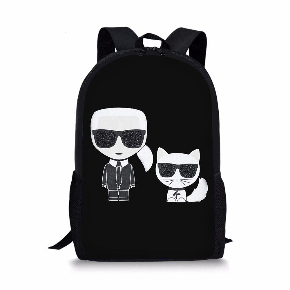 Cartoon Karl Lagerfelds Designer School Backpack For Teenager Girls Boys Black BookBag Student Customize 16 Inch Satchel Mochila