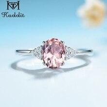 Kuololit Morganite חן טבעת לנשים מוצק 925 כסף נוצר ורוד צבע אבן חתונה אירוסין תכשיטים