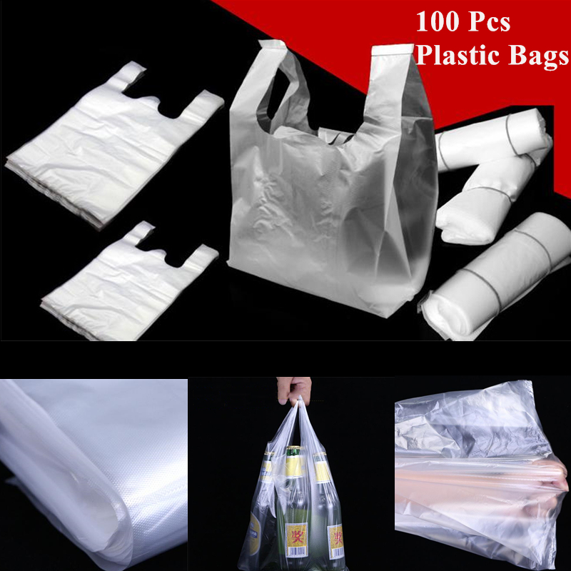100Pcs StoreBag Shopping Plastic Bags Reusable Grocery Bag With Handle Food Packaging Thickness 15-26cm/20-30cm/24-37cm