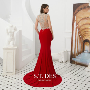 Image 2 - Formal dress 2020 Summer S.T.DES Hot Sexy Illusion Red V Neck Crystal Beaded Sheer Cutaway Sides Long Mermaid Evening Dress