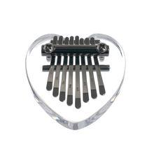 8 chaves kalimba instrumento musical acrílico polegar piano transparente coração de cristal transparente kalimba instrumento musical