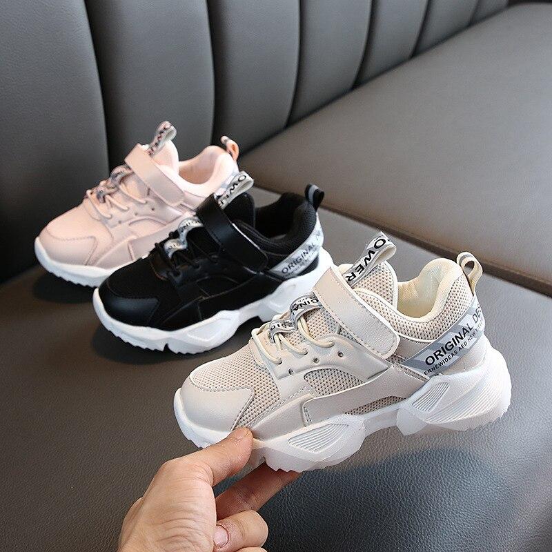 Zapatos de cuero para niños, zapatillas deportivas para niñas, Zapatillas de malla para niños, 2019, Otoño, zapatos casuales blancos para niños, zapatillas deportivas para correr