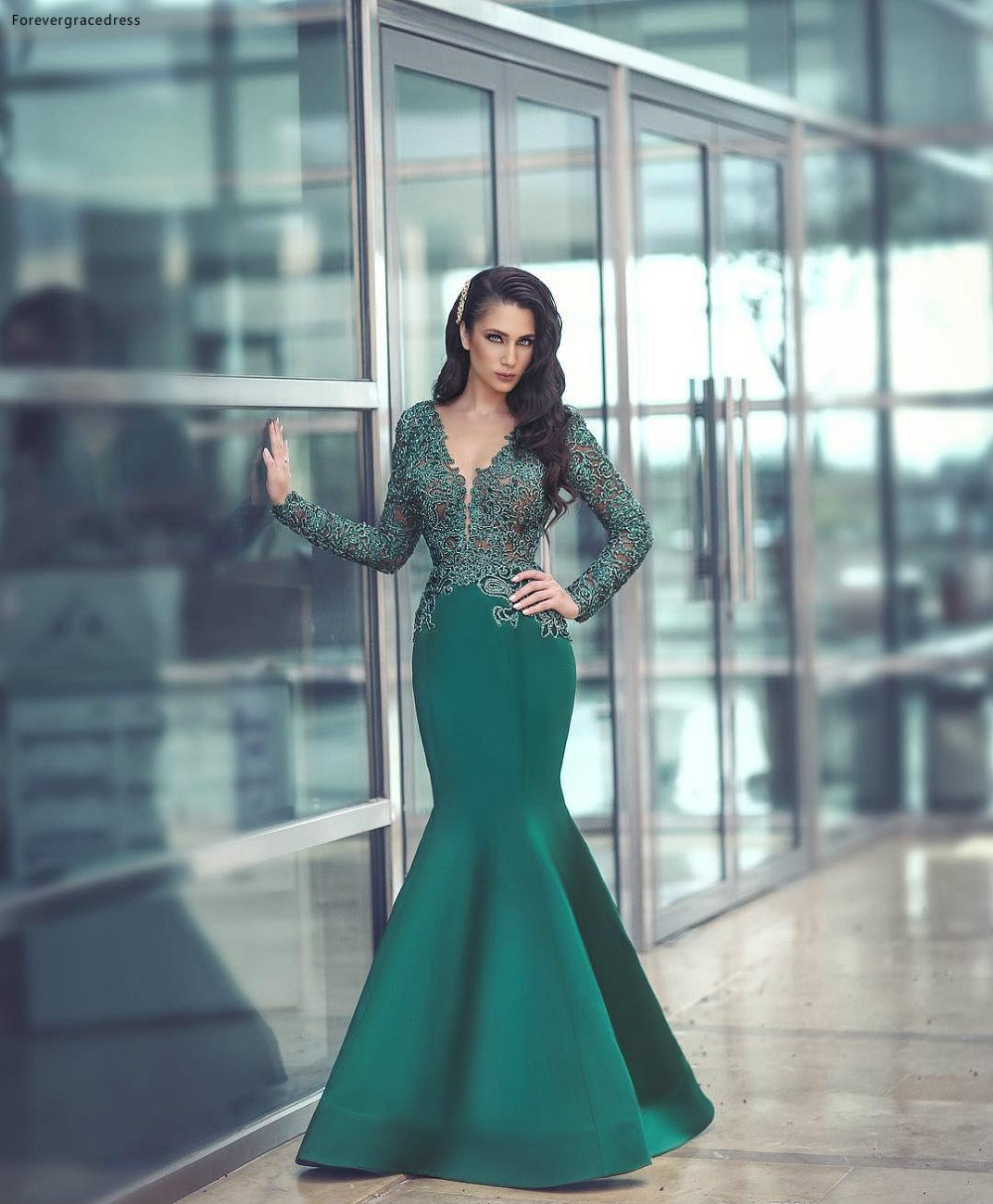 2018 Sexy Sheer Neck Dark Green Mermaid Evening Dresses Illusion Lace Appliques Long Sleeves Satin Floor-Length Formal Wears Evening Gowns 119 (1)